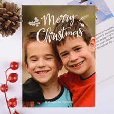 Merry Script Personalised Christmas Photo Card