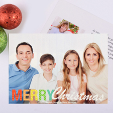 Bright Pattern Personalised Christmas Photo Card