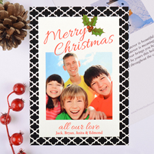 Geometric Pattern Personalised Photo Christmas Card