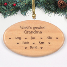 World's Greatest Grandma Personalised Engraved Wood Ornament