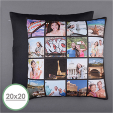 Instagram Black Personalised 16 Collage Photo Pillow 20