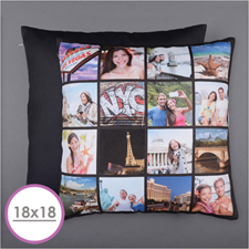 Instagram Black Personalised 16 Collage Photo Pillow 18