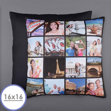 Instagram Black Personalised 16 Collage Photo Pillow 16