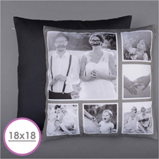 Rustic Instagram Personalised Six Collage Photo Pillow 18