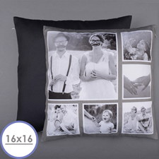 Rustic Instagram Personalised Six Collage Photo Pillow 16