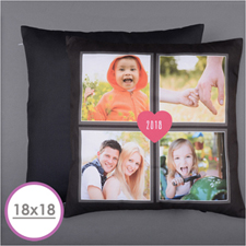 Four Collage And Heart Personalised Photo Pillow 18