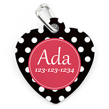 Polka Dot Personalised Pet Tag Heart Shape