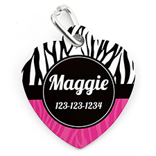 Zebra Dot Personalised Pet Tag Heart Shape