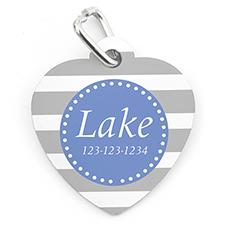 Grey Stripe Personalised Pet Tag Heart Shape