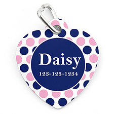Navy Pink Dot Personalised Pet Tag Heart Shape
