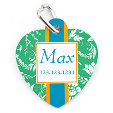 Green Floral Personalised Pet Tag Heart Shape