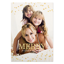 Gold Glitter Snowing Personalised Photo Christmas Card 5