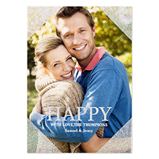 Happy Silver Glitter Personalised Photo Christmas Card 5