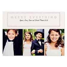 White Merry Silver Glitter Personalised Photo Christmas Card 5