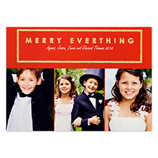 Merry Everything Glitter Gold Personalised Photo Christmas Card 5