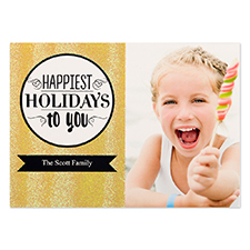 Happiest Holidays Gold Glitter Personalised Photo Christmas Card 5