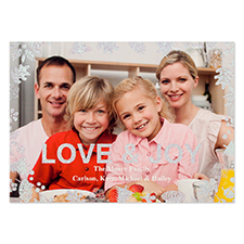 Love & Joy Silver Glitter Personalised Photo Christmas Card 5