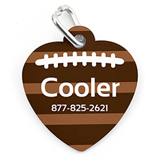 Football Personalised Pet Tag Heart Shape