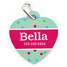 Confetti Dot Personalised Pet Tag Heart Shape
