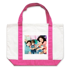 Personalised Landscape Photo Hot Pink Canvas Tote Bag