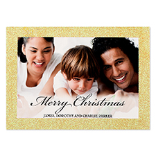 Merry Christmas Gold Glitter Personalised Photo Christmas Card 5