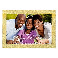 Glitter Gold Border Personalised Photo Christmas Card 5