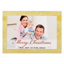 Gold Glitter Frame Personalised Photo Christmas Card 5