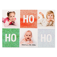Ho Ho Ho Glitter Personalised Photo Christmas Card 5