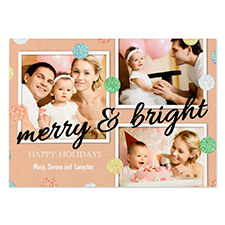 Glitter Dots Personalised Photo Black Merry & Bright Card 5