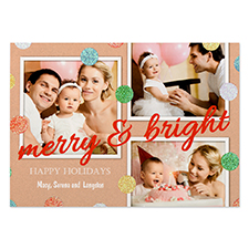 Glitter Dots Personalised Photo Red Merry & Bright Card 5