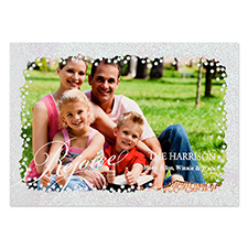 Rejoice Silver Glitter Personalised Photo Christmas Card 5