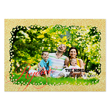 Rejoice Gold Glitter Personalised Photo Christmas Card 5
