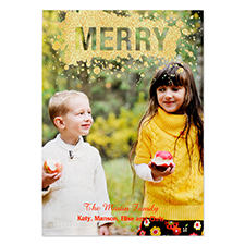 Merry Gold Glitter Personalised Photo Christmas Card 5