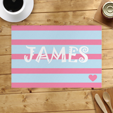 Stripe And Heart Personalised Placemat, Blue