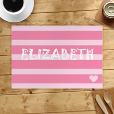 Stripe And Heart Personalised Placemat, Pink