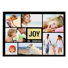 Joy Gold Glitter Personalised Photo Christmas Card 5