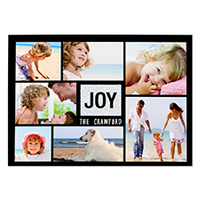 Joy Silver Glitter Personalised Photo Christmas Card 5