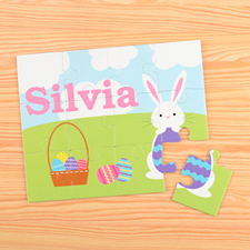Happy Bunny Personalised Easter Kids Puzzle