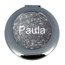 Silver Glitter Personalised Mirror For Bridesmaids, Round