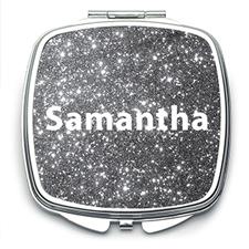 Silver Glitter Personalised Mirror For Bridesmaids, Square