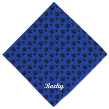 Blue Paw Print Custom Name Dog Bandanas, 20