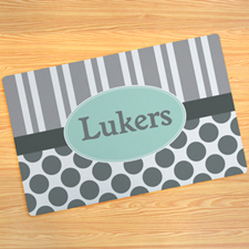 Grey Stripe And Polka Dot Personalised Doormat 17