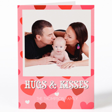Hugs & Kisses Personalised Photo Valentine's Card, 5