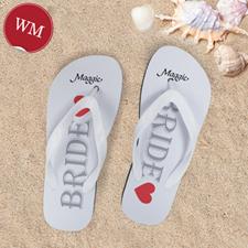 White Bride Personalised Wedding Flip Flops, Women Medium