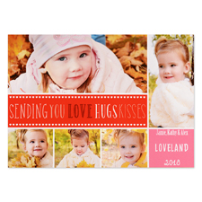 Love Hugs Kisses Personalised Valentine Photo Card