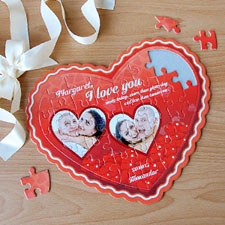 Red Love Personalised Heart Shape Puzzle