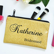 Real Glitter Gold Personalised Cosmetic Bag Medium
