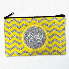 Yellow Glitter Chevron Personalised Cosmetic Bag, Medium