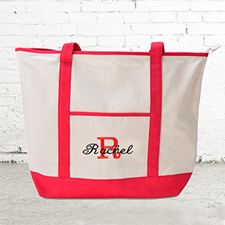 Name & Initial #1 Personalised Red Canvas Tote Bag (Large)