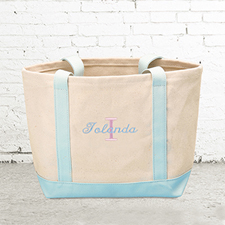 Name & Initial #1 Personalised Light Blue Canvas Tote Bag (Small)
